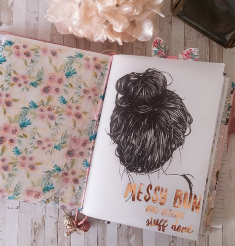 Vellum Foiled Messy Bun Planner Dashboard