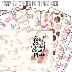 Planner Girl digital papers bundle