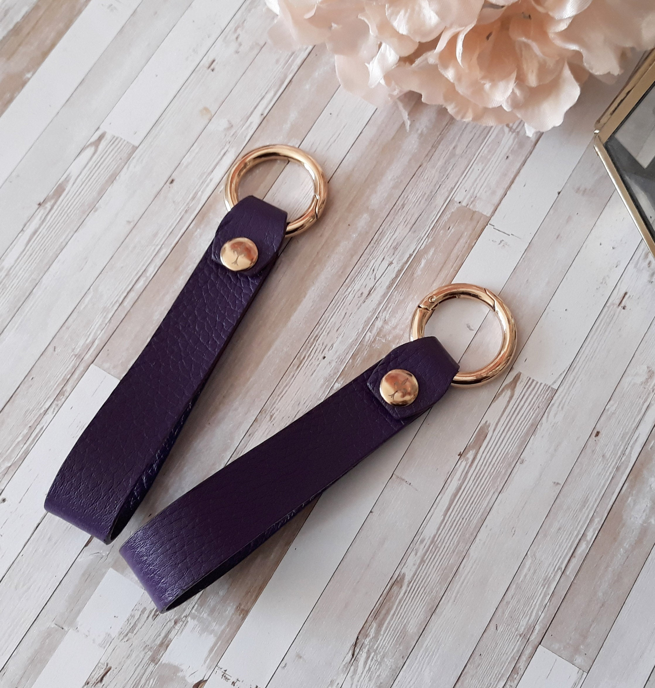 Plum Leather key chain