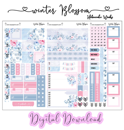 Winter Blossom - Digital Hobonichi Week Kit