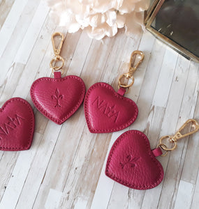 Raspberry leather Heart key chain