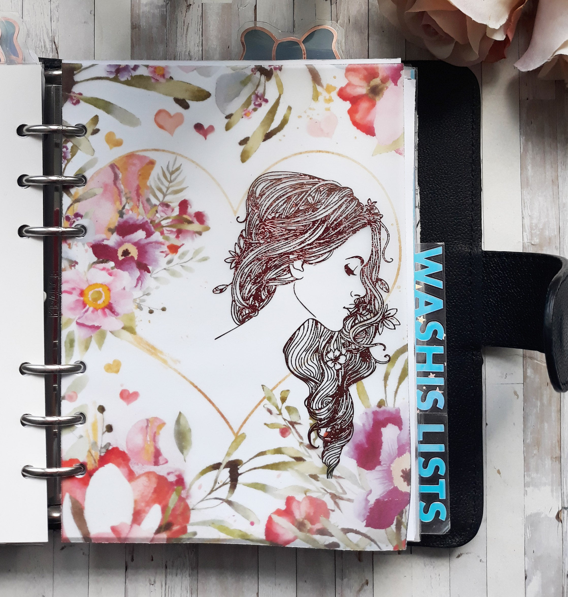 Vellum Foiled Rosey Planner Dashboard
