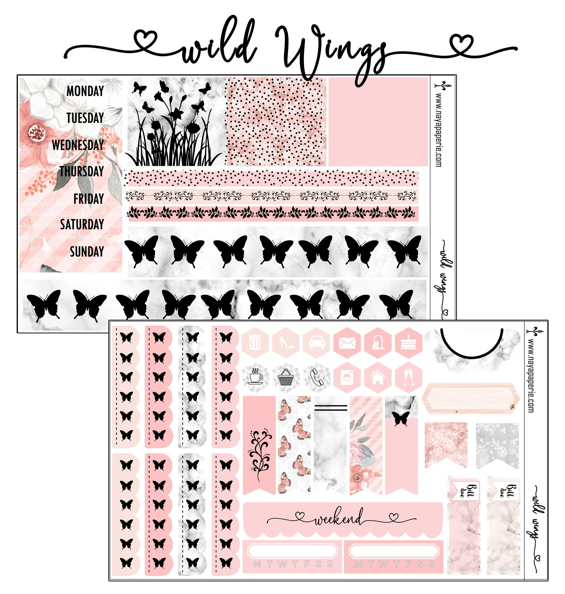Wild Wings foiled stickers kit- 5 sheets
