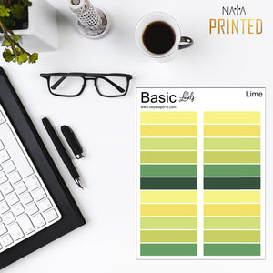 Basic Labels - Lime Palette