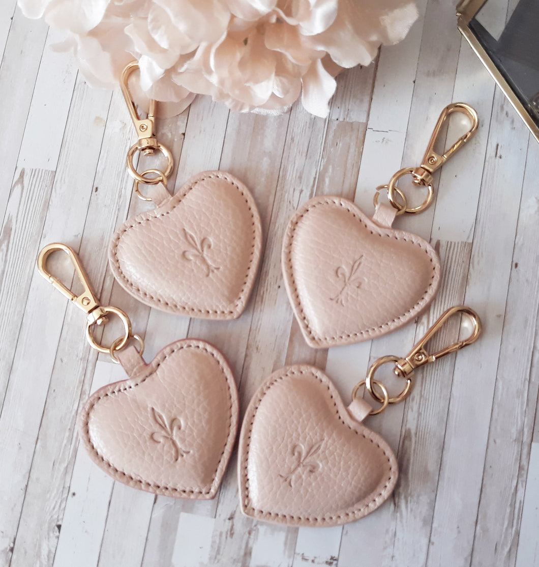 Blush Pink leather Heart key chain