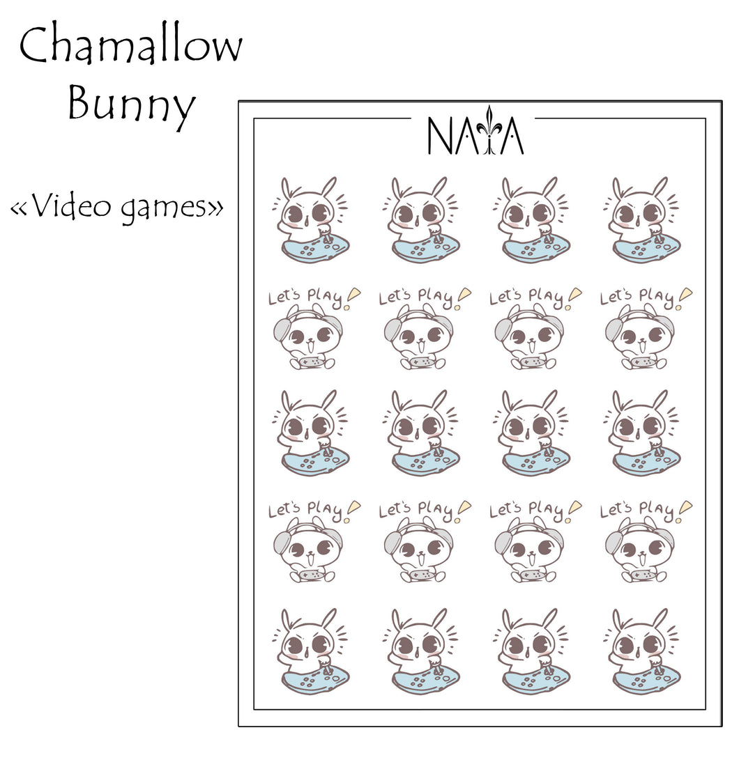 Chamallow Bunny Playing Video Games