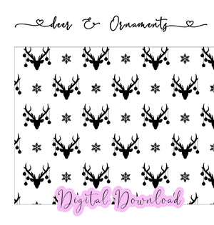 Deer & Ornaments - Digital Paper