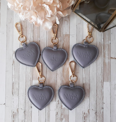 Dusty Lilac leather Heart key chain