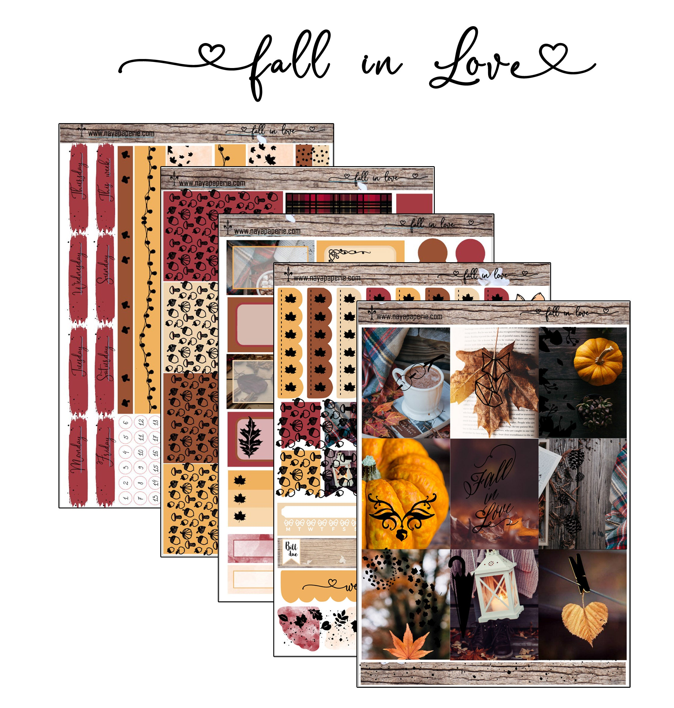 Fall in Love stickers kit- 5 sheets