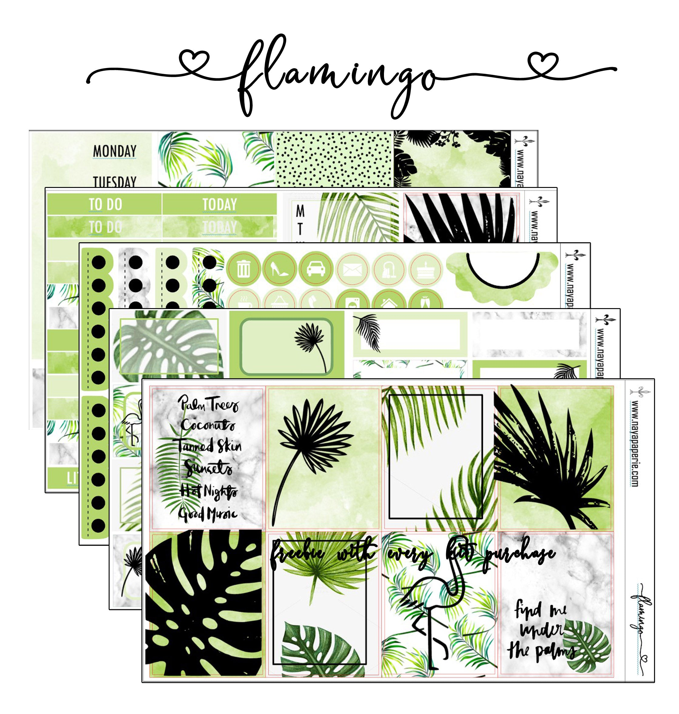 Flamingo foiled stickers kit- 5 sheets