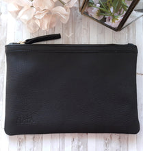 Clutch/Pencil Holder -Jet Black Leather