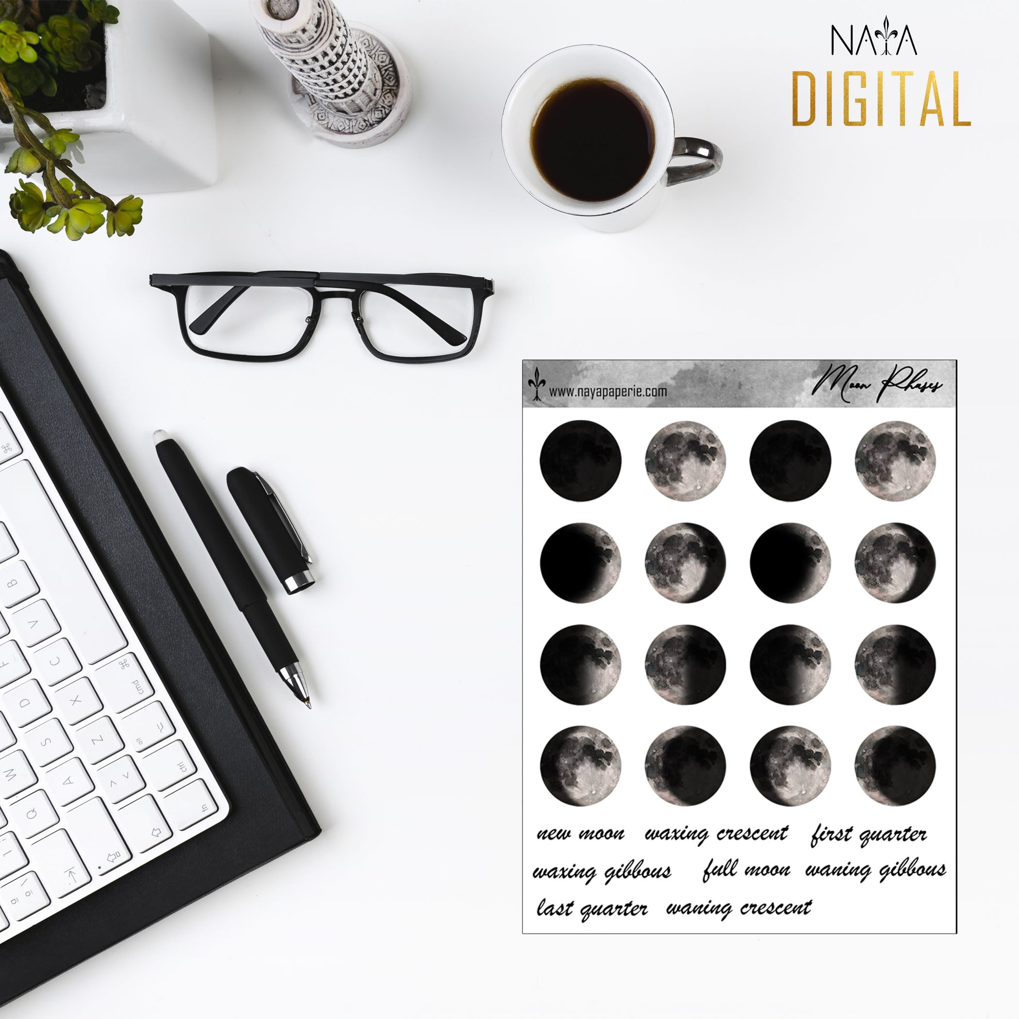 Moon Phases - Printable Stickers
