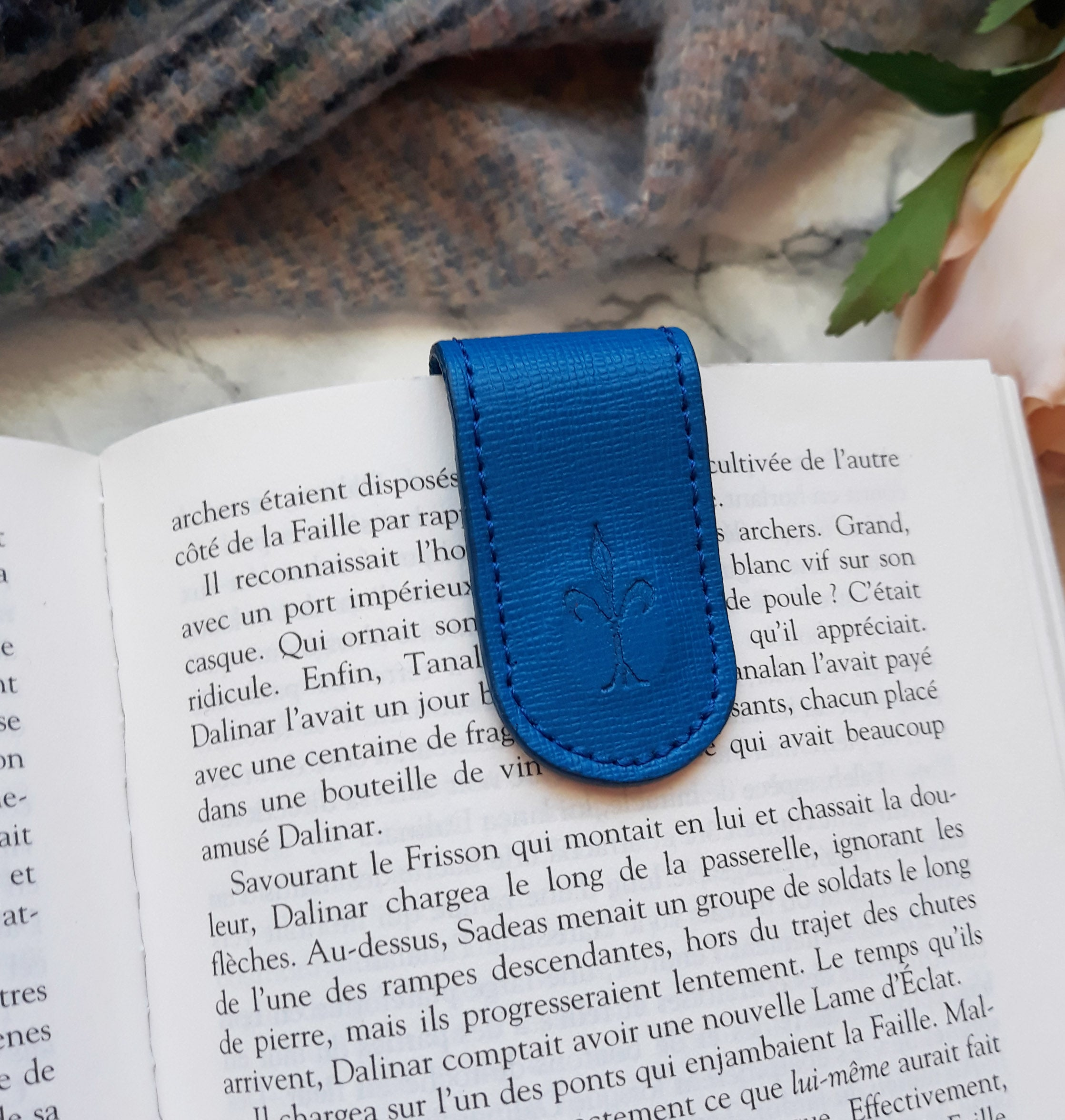 Saffiano Blue Magnetic Bookmark