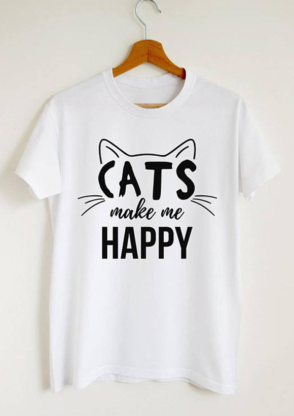 Cats Makes Me Happy  White Tshirt
