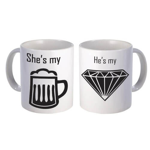 She's My Bear and He's My Diamond Couple Coffee Mug couple coffee mug