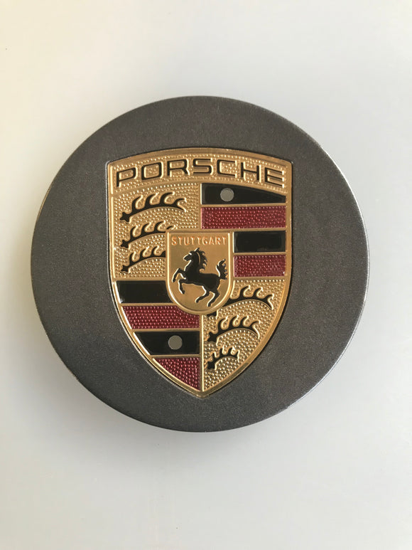 Porsche Wheel Centre Caps - Set of 4 Dark Grey