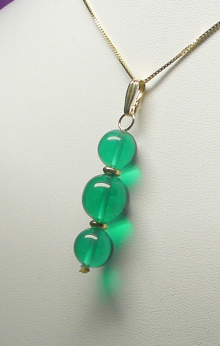 Teal Andara Crystal with Gold Pendant (2 x 10mm & 1 x 12mm)