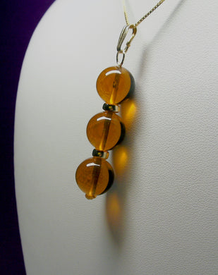 Amber Andara Crystal with Gold Pendant (3 x 12mm)