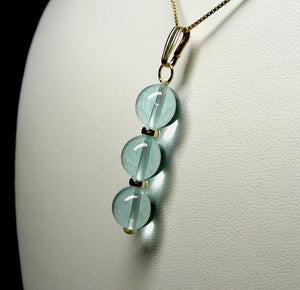 Aqua - Blue Andara Crystal with Gold Pendant (3 x 10mm)