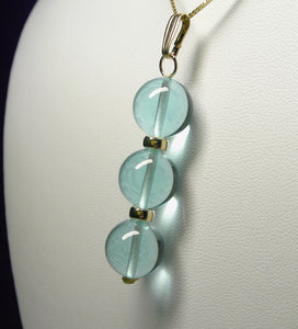 Aqua - Blue Andara Crystal with Gold Pendant (3 x 12mm)