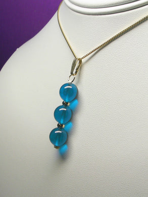 Blue - Bright Dark Andara Crystal with Gold Pendant (3 x 10mm)