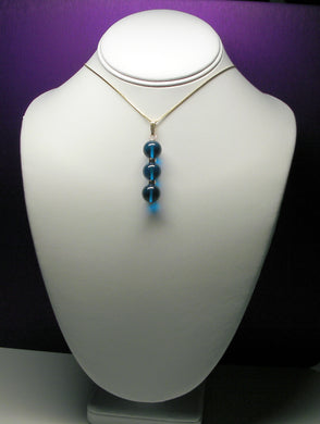 Blue - Bright Dark Andara Crystal with Gold Pendant ----- NEW COLOR ------
