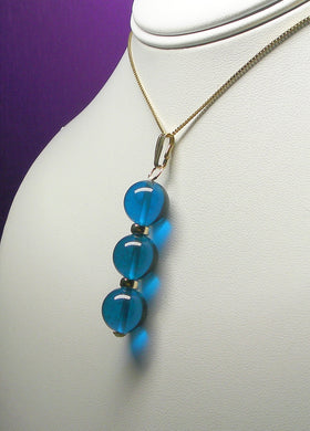 Blue - Bright Dark Andara Crystal with Gold Pendant (3 x 12mm)