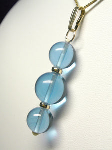 Blue Andara Crystal with Gold Pendant (2 x 10mm & 1 x 12mm)