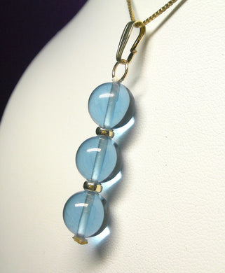 Blue Andara Crystal with Gold Pendant (3 x 10mm)