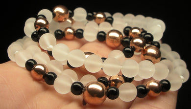 Copper with Frosted Quartz & Black Obsidian 4.5-8mm 25inch