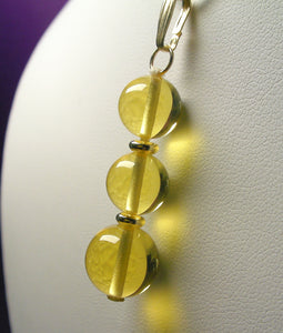 Yellow - Golden Andara Crystal with Gold Pendant (2 x 10mm & 1 x 12mm)