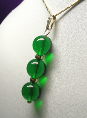Green Andara Crystal with Gold Pendant (3 x 12mm)