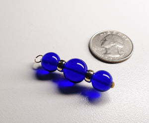 Indigo Andara Crystal with Gold Pendant (2 x 10mm & 1 x 12mm)