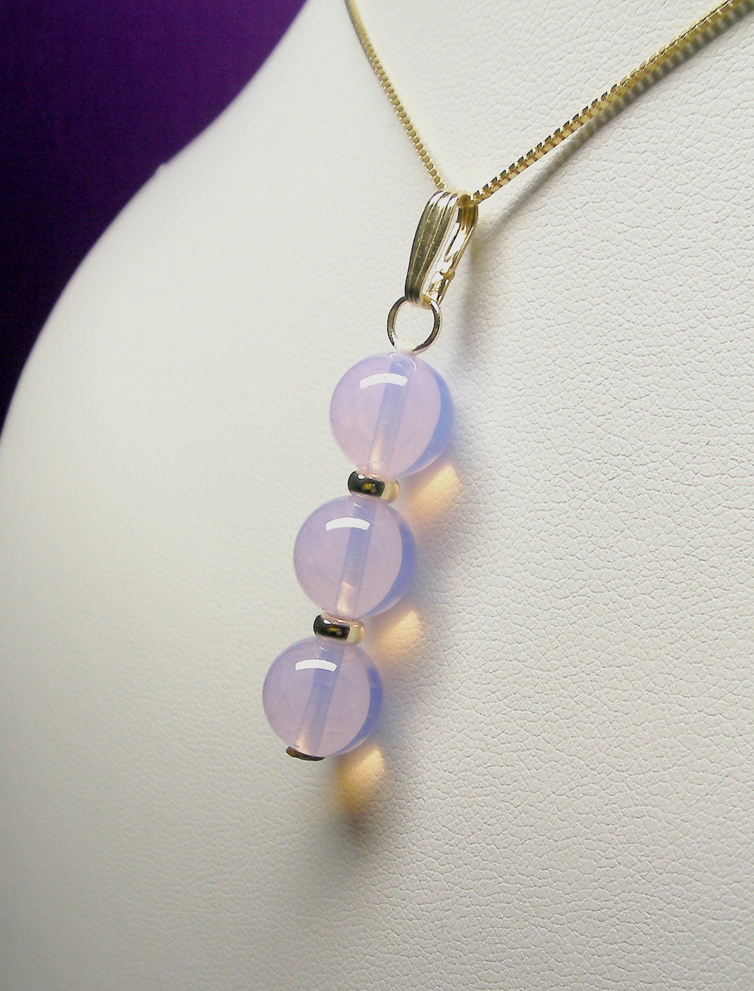 Opalesence Lavender Andara Crystal with Gold Pendant (3 x 10mm)