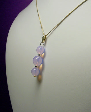 Lavender Opalesence Andara Crystal with Gold Pendant (2 x 10mm & 1 x 12mm)