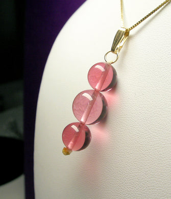 Peach Pink Andara Crystal Pendant (2 x 10mm & 1 x 12mm)
