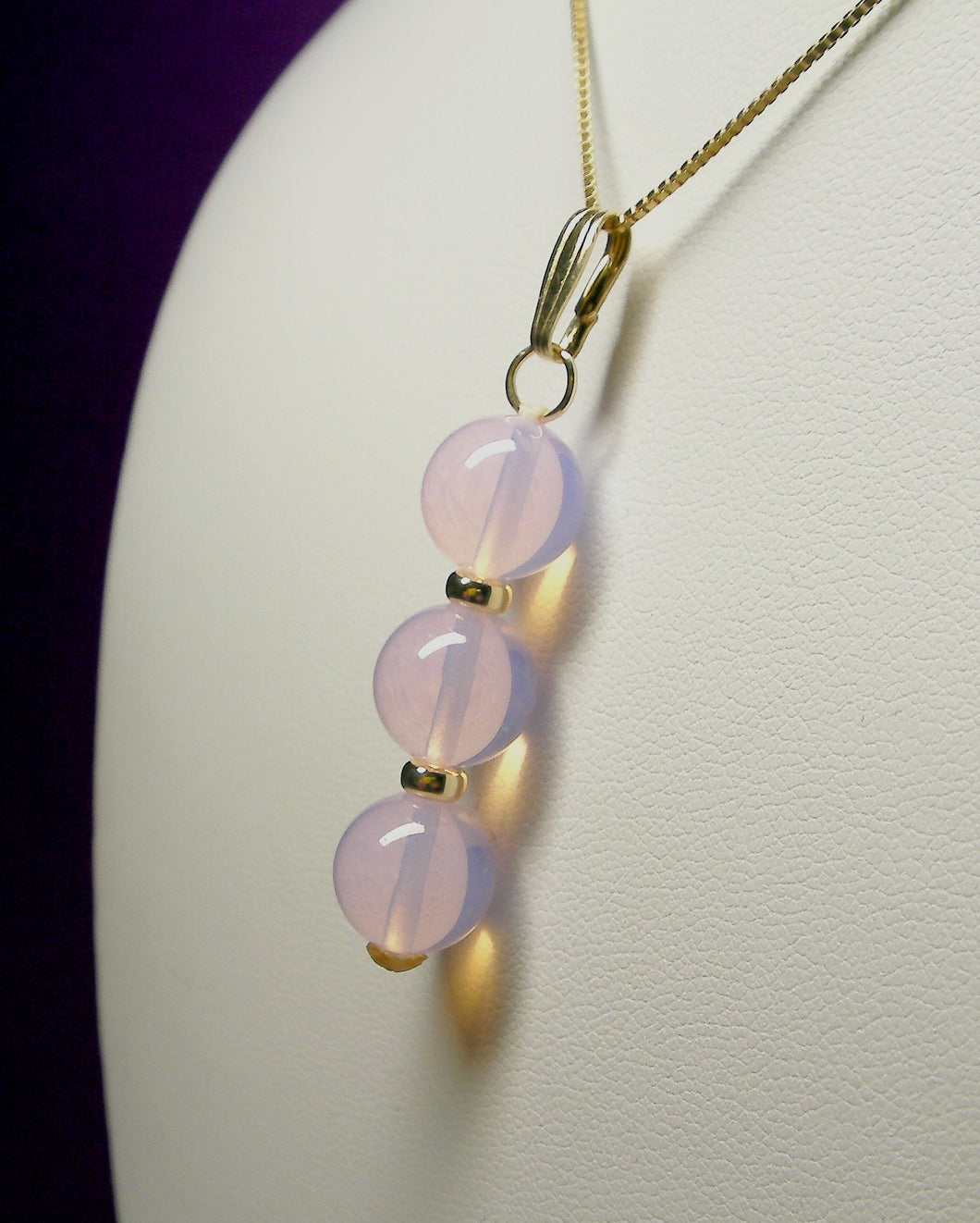 Pink Opalescence Andara Crystal with Gold Pendant (3 x 10mm)