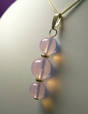 Pink Opalescence Andara Crystal with Gold Pendant (2 x 10mm & 1 x 12mm)