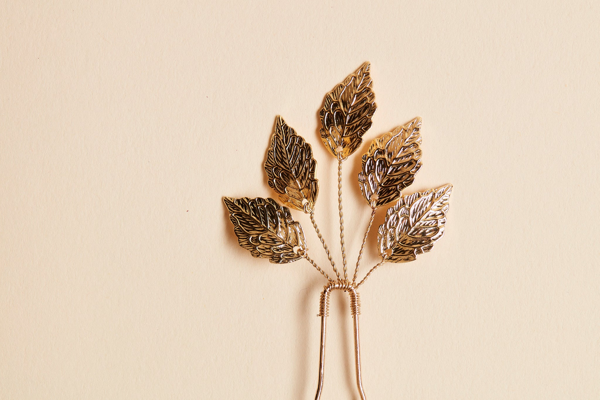 delicate gold leaf hair pin