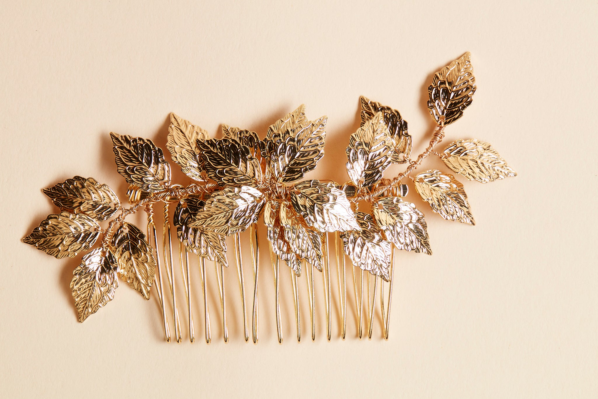gold leaf wedding hair comb