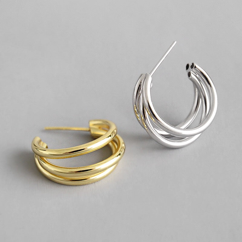 The Classic Triple Hoop in Gold
