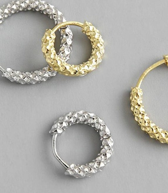 The Textured Huggie Hoops in Silver