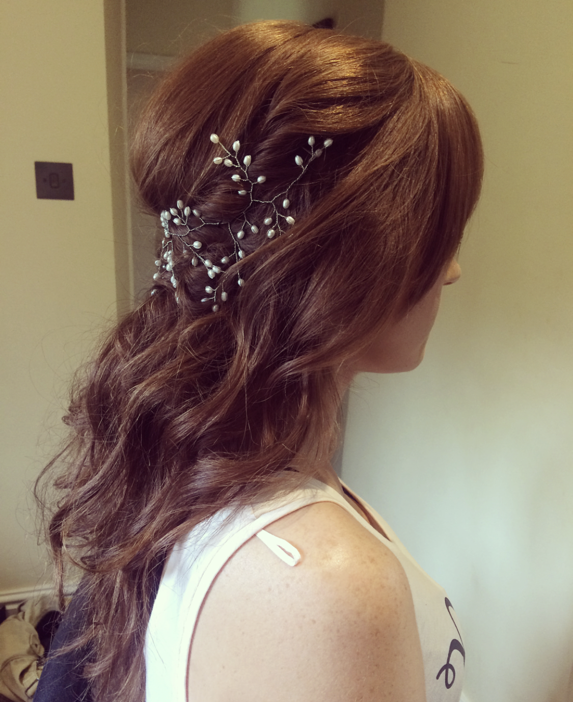 pearl wedding hair vine