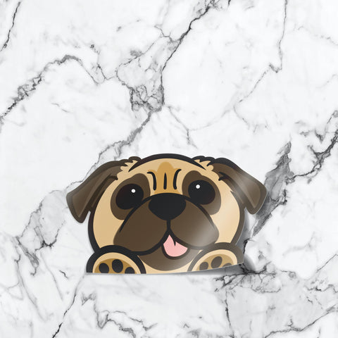Pug Peekabork Decal