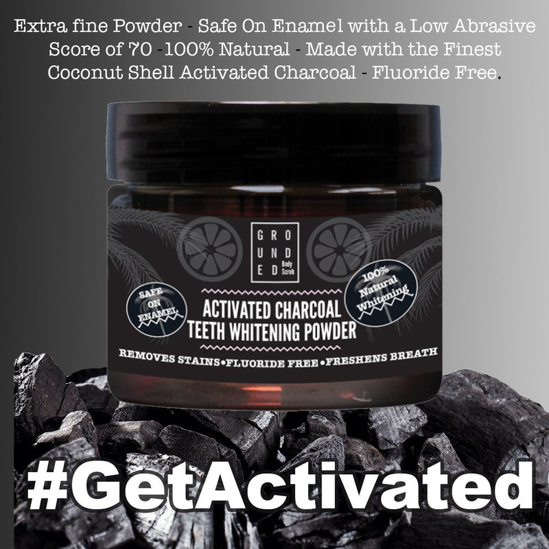Activated Charcoal Teeth Whitening Powder By Grounded®. 100% Natural and Made In The UK