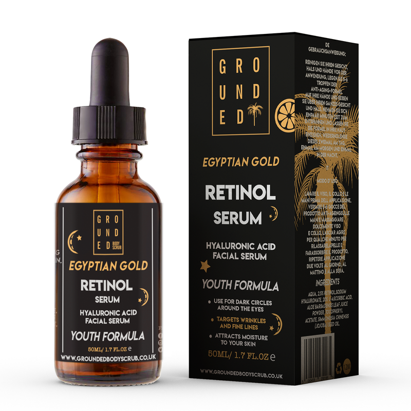 Grounded Egyptian Gold Anti Ageing Retinol Face Serum - For wrinkles, lines and those first signs of ageing