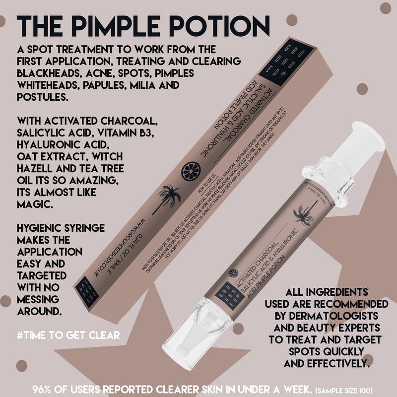 The Pimple Potion With Activated Charcoal, Salicylic Acid and Hyaluronic Acid - For a spot free complextion
