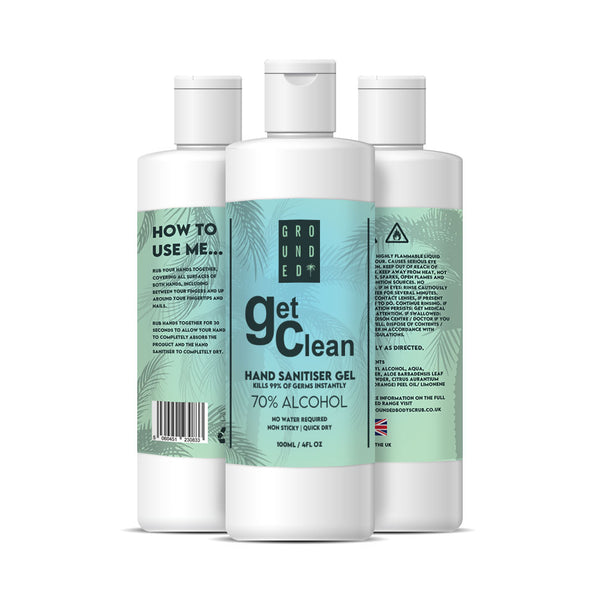 New Grounded 70% Alcohol Hand Sanitising Gel with Vitamin C & Aloe Vera - Kills 99.9% of all Bacteria- Stay Germ Free