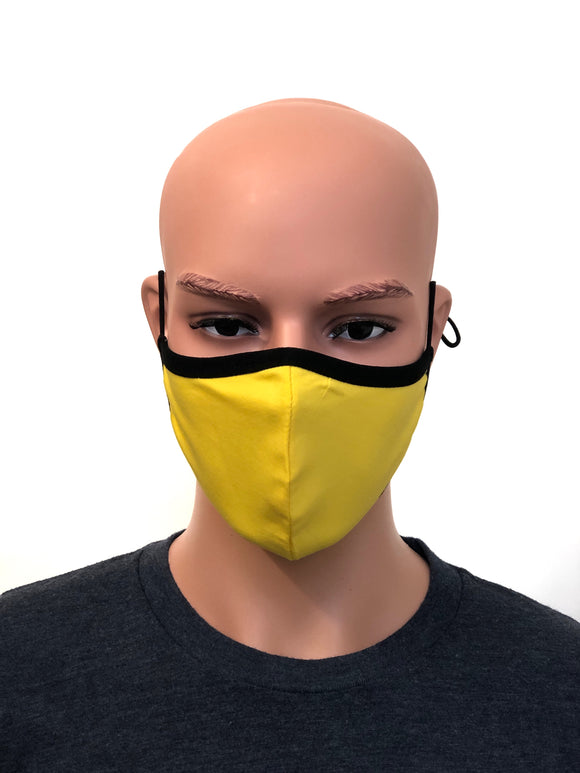 Unisex Yellow cotton Face Mask