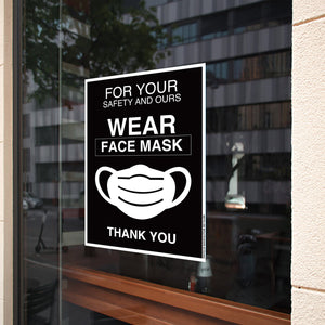 Wear Face Mask Social Distance Windows Sign Sticker adhesive